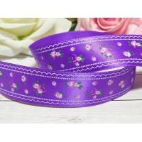 Атласная лента 25 мм с рисунком Розы, 23 м фиолетовый