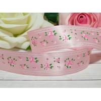 Атласная лента 25 мм с рисунком Розы, 23 м розовый