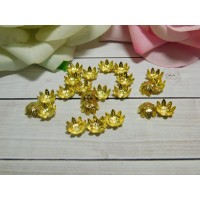 Розетки-шапочки для бусин 11 мм, 100 шт. золото