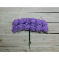 Розы фом + органза, 144 шт. (12 букетов) сиреневый