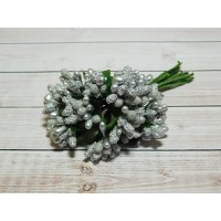 Веточки-тычинки, 144 шт (12 букетов) серебро