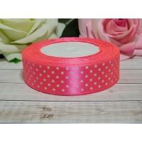Атласная лента в горошек 25 мм, 23 м розовый яркий