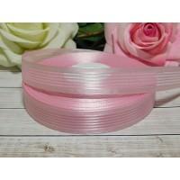 Органза с рисунком 20 мм, 23 м розовый полоски