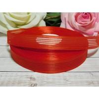 Органза с рисунком 20 мм, 23 м красный полоски