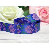 Атласная лента 25 мм с рисунком Цветы разноцветные, 23 м синий