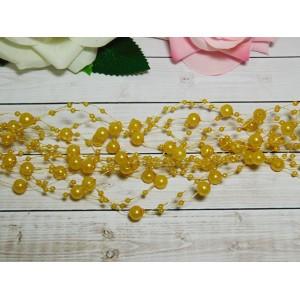 Нить с бусинами 3 и 8 мм 130-140 мм, 10 шт. золотисто-желтый