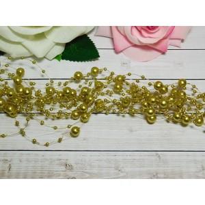Нить с бусинами 3 и 8 мм 130-140 мм, 10 шт. золото