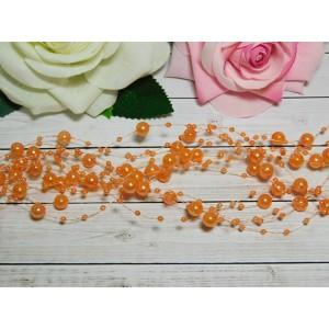 Нить с бусинами 3 и 8 мм 130-140 мм, 10 шт. оранжевый