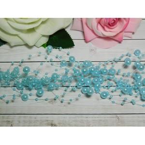 Нить с бусинами 3 и 8 мм 130-140 мм, 10 шт. голубой