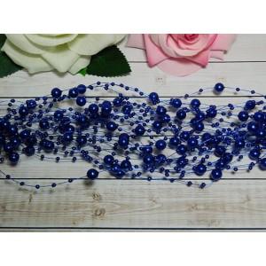 Нить с бусинами 3 и 8 мм 130-140 мм, 10 шт. синий