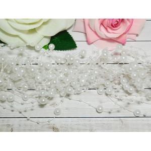 Нить с бусинами 3 и 8 мм 130-140 мм, 10 шт. белый