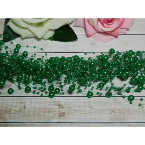 Нить с бусинами 3 и 8 мм 130-140 мм, 10 шт. зеленый темный