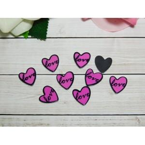Фигурки из пластика Сердце 16 мм, 50 шт. малиновый
