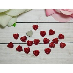 Стразы Сердце 10 мм, 100 шт. красный