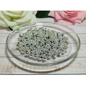 Бусины пластик 8 мм, 30 гр. (ок. 120 шт.) серебро