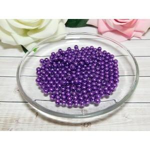 Бусины пластик 6 мм, 30 гр. (ок. 300 шт.) фиолетовый