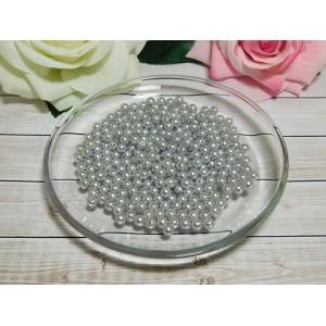 Бусины пластик 6 мм, 30 гр. (ок. 300 шт.) серый