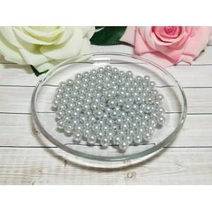 Бусины пластик 8 мм, 30 гр. (ок. 120 шт.) серый