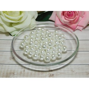 Бусины пластик Премиум 12 мм 40 гр. (ок. 46 шт.), белый перламутр