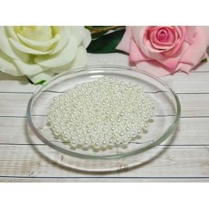 Бусины пластик Премиум 6 мм 30 гр. (ок. 300 шт.), белый перламутр