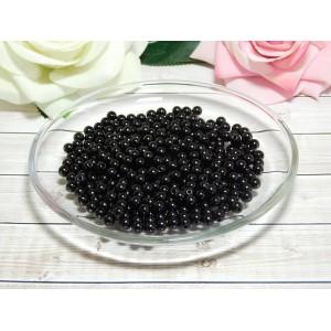 Бусины пластик 6 мм, 30 гр. (ок. 300 шт.) черный