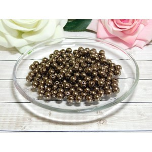 Бусины пластик 8 мм, 30 гр. (ок. 120 шт.) коричневый