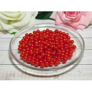 Бусины пластик 8 мм, 30 гр. (ок. 120 шт.) красный