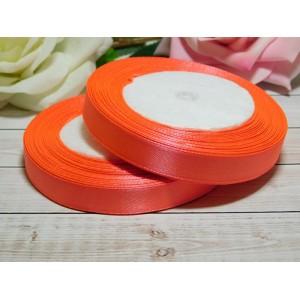 Атласная лента 12 мм, 23 м оранжевый яркий