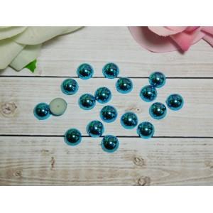Полубусины под металл 10 мм, 100 шт. голубой яркий