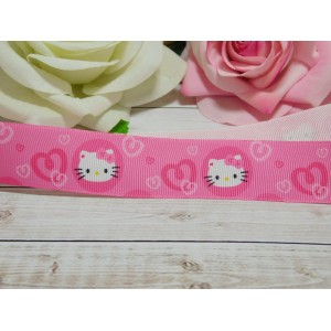 Репсовая лента 25 мм с рисунком Кити, 10 м розовый