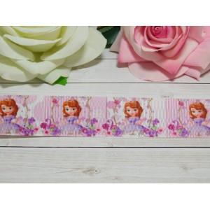 Репсовая лента 25 мм с рисунком София в платье, 10 м