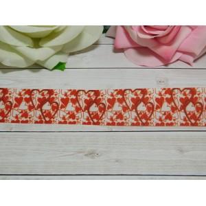 Репсовая лента 25 мм с рисунком Сердца, 10 м красный