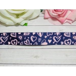 Репсовая лента 25 мм с рисунком Сердца, 10 м синий темный
