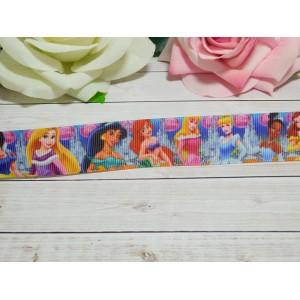 Репсовая лента 25 мм с рисунком Принцессы 2, 10 м
