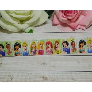 Репсовая лента 25 мм с рисунком Принцессы 3, 10 м