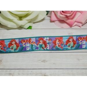 Репсовая лента 25 мм с рисунком Русалочка, 10 м