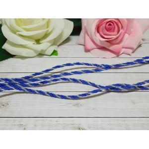 Шнур декоративный витой 3 мм, 10 м синий + серебро