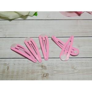 Заколка клик-клак 5 см, 50 шт. металл розовый