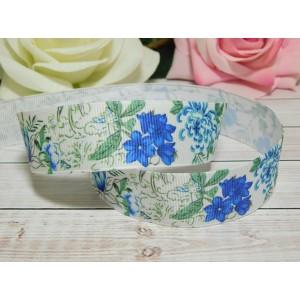 Репсовая лента 25 мм с рисунком Голубые цветы, 10 м белый