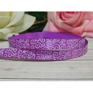 Атласная лента 10 мм с рисунком Завитки, 10 м фиолетовый