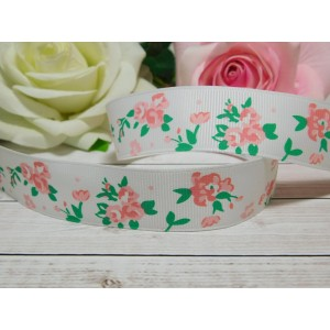 Репсовая лента 25 мм с рисунком Цветы Розы, 10 м белый
