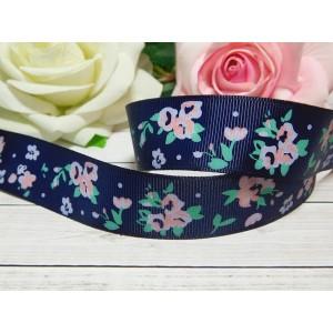Репсовая лента 25 мм с рисунком Цветы Розы, 10 м синий темный