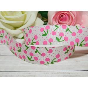 Репсовая лента 25 мм с рисунком Вишня розовая, 10 м белый