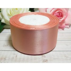 Атласная лента 50 мм, 23 м розовый персик темный