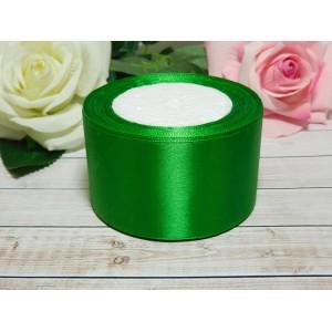 Атласная лента 50 мм, 23 м зеленый сочный