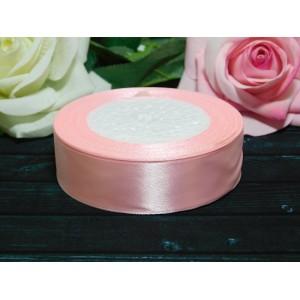 Атласная лента 25 мм, 23 м розовый нежный