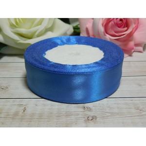 Атласная лента 25 мм, 23 м голубой темный