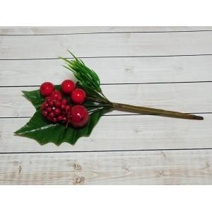 Веточка с ягодой шиповника 17 см, 10 шт.