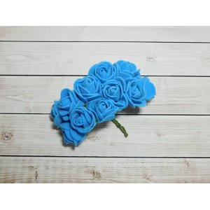 Розы фом, 144 шт. (12 букетов) голубой яркий