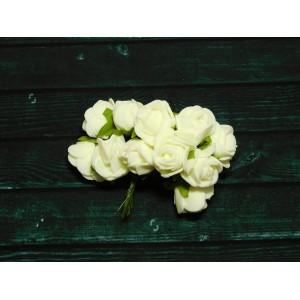 Розы фом, 144 шт. (12 букетов) ванильный